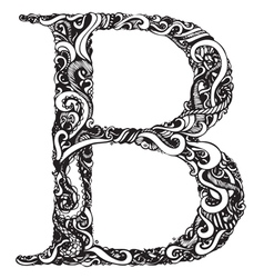 B letter capital black vector