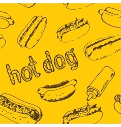 Hot dog seamless pattern vector