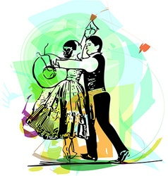 Couple dancing marinera vector