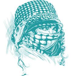 An muslim woman with big eyes wearing a niqab vector