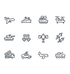 army line icons on white vector image
