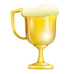 Beer With Froth In Golden Mug vector image vector image