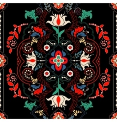 Black floral seamless pattern vector