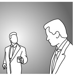 boss and worker talking doodle vector image vector image