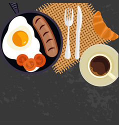 breakfast with cup of coffe vector image vector image