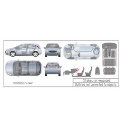 Car hatchback interior parts engine seats vector