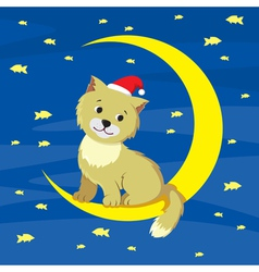 Cat and moon vector