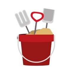 Colorful sand bucket and shovel icon vector