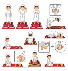 Complete set of muslim prayer position guide step vector