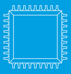 Computer microchip icon outline vector
