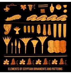 Elements of egyptian ornaments vector