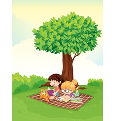 Girls studying under tree vector image