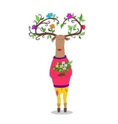 Hipster deer witj flowers vector