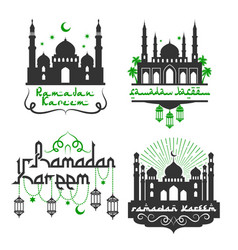 Icons for ramadan kareem holiday greetings vector