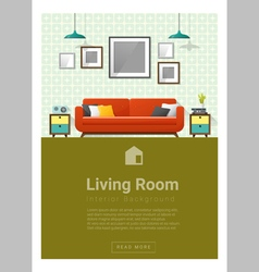 Interior design modern living room banner 4 vector