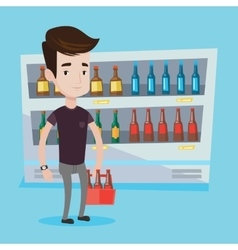 Man with pack of beer at supermarket vector image