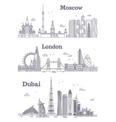 moscow london dubai linear landmark vector image vector image
