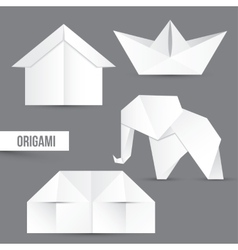 Origami set house ship and elephant vector
