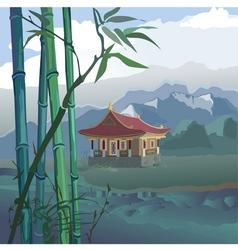 pagoda at the river vector image vector image