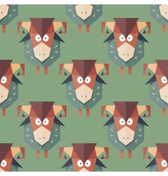 Seamless pattern of cartoon funny sheeps vector