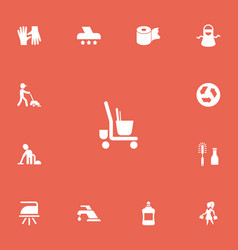 Set of 13 editable cleaning icons includes vector