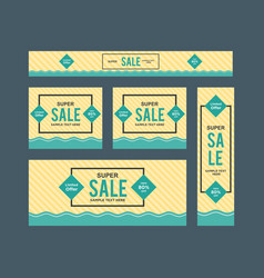 Set of cute yellow and blue framed sale web vector