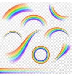 Set of realistic rainbows in different shape on vector image