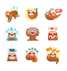Sloth emoticon stickers set vector