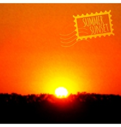 Summer sunset realistic background vector image vector image