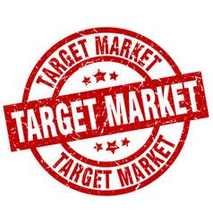 Target market round red grunge stamp vector