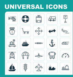 Transport icons set collection of sailboat vector