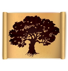 Tree on old scroll paper vector image