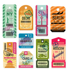 Vintage baggage tags and luggage labels set vector