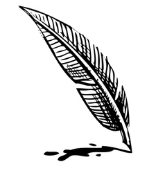 Writing quill with ink blot vector