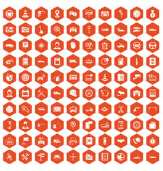 100 auto service center icons hexagon orange vector