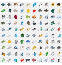 100 urban icons set isometric 3d style vector