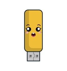Kawaii cartoon flash drive vector
