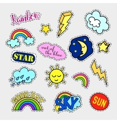 Fashion patch badges sky set stickers pins vector