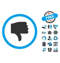 Thumb down flat icon with bonus vector