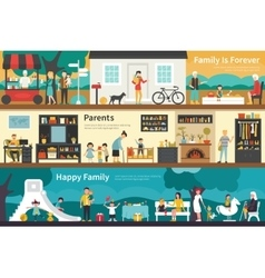 Family is forever parents happy flat interior vector