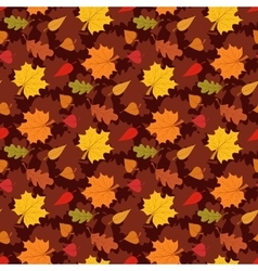 Fall season seamless pattern with leafs on brown vector image