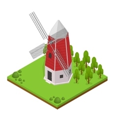 Traditional old windmill isometric view vector