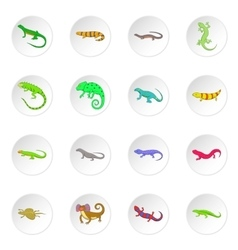 Lizard icons set vector image