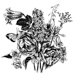 Black and white hand drawn garden flowers vector