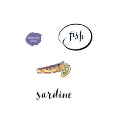 piece of sardine and lemon vector image