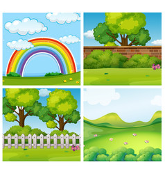 Four scenes of green parks vector
