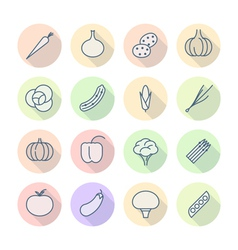 Thin Line Icons For Vegetables vector image