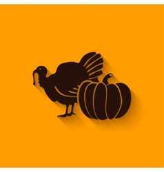 Thanksgiving symbols turkey and pumpkin vector