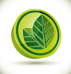 Green spring leaves icon vector