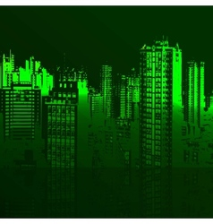 Green city and the sea vector